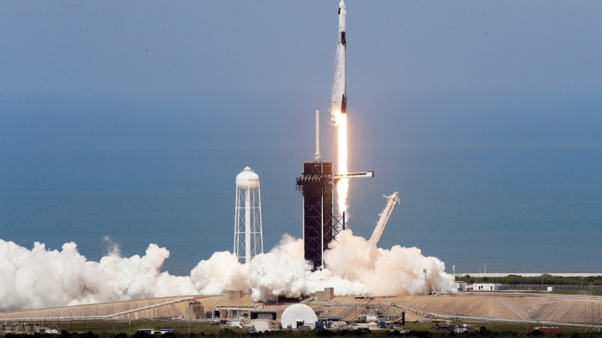A SpaceX Falcon 9, with NASA astronauts Doug Hurley and Bob Behnken in the Dragon crew capsule, lifts off from Pad 39-A at the Kennedy Space Center in Cape Canaveral, Fla., Saturday, May 30, 2020. The two astronauts are on the SpaceX test flight to the International Space Station. For the first time in nearly a decade, astronauts blasted towards orbit aboard an American rocket from American soil, a first for a private company.