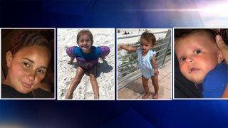 Jilleane Suciu de 3 años, Brileigh Suciu de 1 año, Brody Suciu de 3 meses y su madre de 25 años Pamela Lavan.