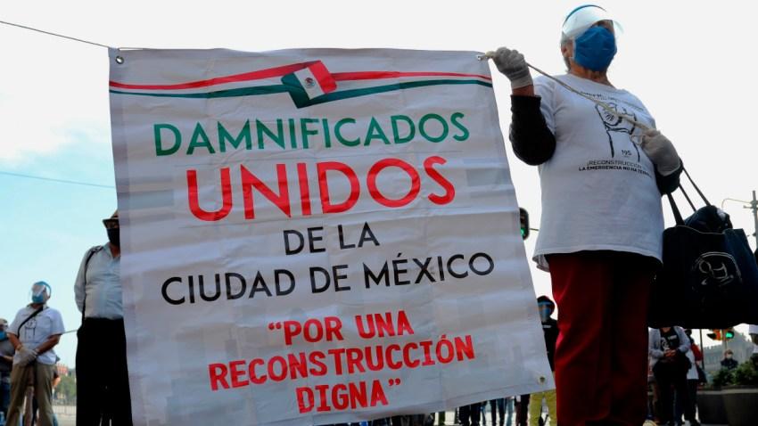 Protesta damnificados del terremoto en México