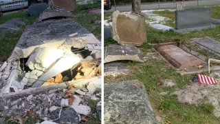 Tumbas abiertas en cementerio de Mout Dora