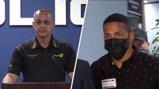 El comisionado de la Policía, Antonio López, y el boxeador puertorriqueño, Félix Verdejo.