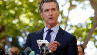 California Governor Gavin Newsom speaks during a news conference regarding the San Jose rail yard shooting in San Jose, California.